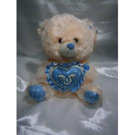 Peluche oso corazon boy celeste 35 cm