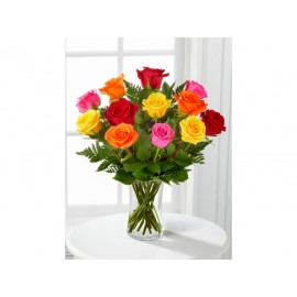 Florero de 12 rosas variadas al natural