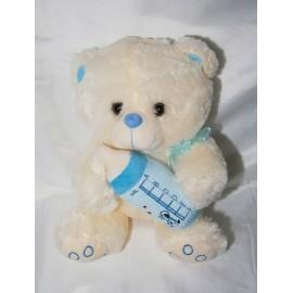 Peluche oso con biberon celeste 35 cm