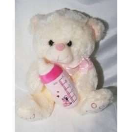 Peluche oso con biberon rosado 35 cm