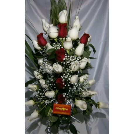 florero 24 rosas en degrade
