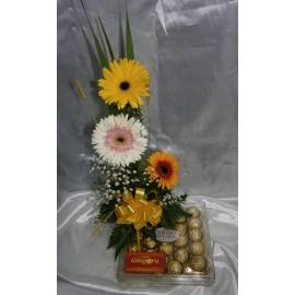 Caja Ferrero Rocher y Gerberas