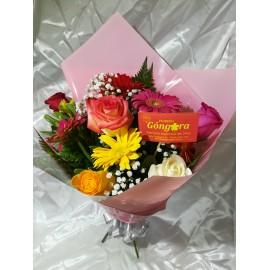 Ramo con 6 rosas y 6 Gerberas