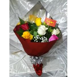 Manojo 6 rosas variedad de colores